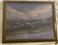 seascape beach waves painting signed framed 16 x 21""