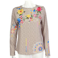 SUNDANCE Floral Embroidered Crochet Cottagecore Long Sleeve Top size Small /135