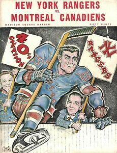 1965 Montreal Canadiens at New York Rangers unscored program- 42 pages.
