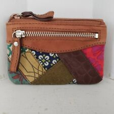 Fossil Wallet Billfold Brown Leather Patchwork Fabric Fold Over Coin ID Purse