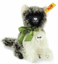 Steiff Fluffy Sitting Cat Dark Grey White Mohair 14cm Animal 031816 New RRP£75