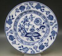 "ANTIQUE STAFFORDSHIRE FLOW BLUE ONION PATTERN 9"" PLATE c.1911"