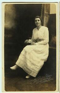 WOMAN IN WHITE antique picture postcard photo azo rppc LOWDEN IA by WHEATLAND