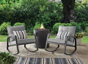 Springs 2-Piece Steel Cushioned Rocking Chair Set Grey Patio Furniture Desk