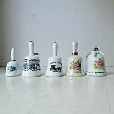 Lot 5 small ceramic table bells average 2 inches tall Vgc