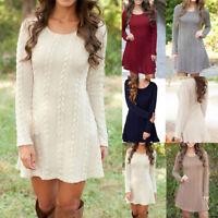 NEW Women Winter Knitwear Knitted Sweater Jumper Long Sleeve Mini Dress Tops