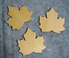 """Lot of 3 Unfinished Wood Shapes:  3"""" Maple Leaves - for Painting & Crafts"""