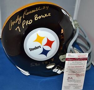 ANDY RUSSELL SIGNED CUSTOM FACEMASK FULL SIZE REP HELMET PITTSBURGH STEELERS JSA
