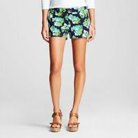 """Merona Womens Navy Floral shorts Size 2 100% Cotton 3"""" Inseam Green Flowers"""