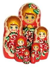 Russian 7Pc Nesting Dolls Rosanna Wooden Hand Painted Floral Stacking Toy Set