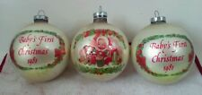Baby's First Christmas 1981 Glass Ornaments Bulbs Puppy Drum garland gifts