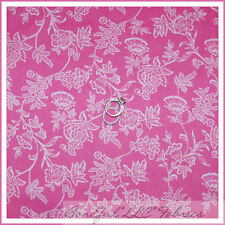 BonEful Fabric Cotton Quilt Pink White Small Flower Rose Vine Baby Girl 99 SCRAP