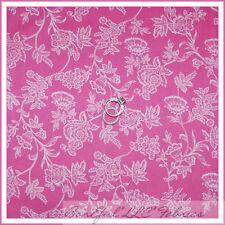 BonEful Fabric Cotton Quilt Pink White Small Flower Rose Vine Baby Girl NR SCRAP