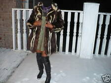 Rare Designer Unique brown & white skunk Fur Coat Jacket stroller S-M 0-6