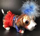 Blown Glass Doggie Ornament Doggie  In Tutu British Flag Decoration