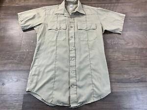 Flying Cross Police Uniform Short Sleeve Khaki Shirt Sz Lg