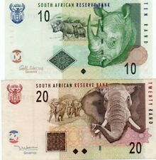 SOUTH AFRICA 10,20 RAND 1999,2010 P-124,128 XF++AUNC