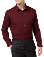 Alfani Mens Shirt Port Red Size Large L Stretch Modern Fit Button Down $55 014