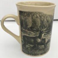 Whitetail Deer Doe Buck Beige Coffee Tea Mug Monochrome Hunting Field Stream
