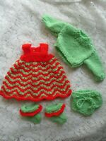 """Doll Clothes Handknitted Watermelon color Set Fits  12"""" 13"""" 14"""""""