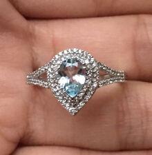 10k White Gold Natural Aquamarine Sapphire Pear Halo Engagement Ring