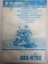 SUZUKI GSX-R 750 Bedienungsanleitung, Handbuch, Owners Manual EN,FR,NL,D,I,ES,SV