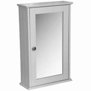 GNEW SINGLE MIRROR CABINET WITH SHELF WALL MOUNTED STORAGE BATHROOM TOILET HOME