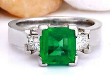 4.00 Carat Natural Emerald 14K Solid White Gold Diamond Ring