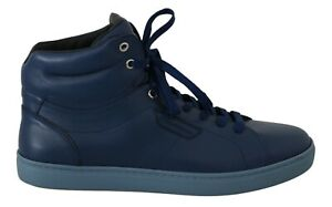 DOLCE & GABBANA Shoes Sneakers Blue Leather Mens High Top EU39 / US6 RRP $700