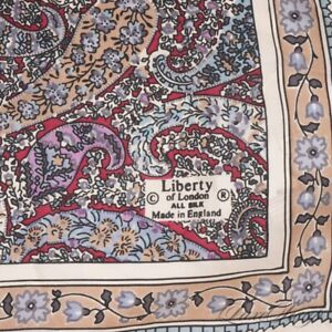 Vintage Liberty Made in England 100% Silk Ecru Watercolor Paisley Pocket Square
