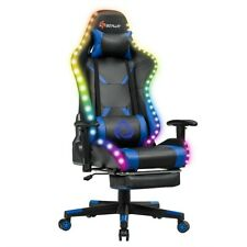 Gaming Chair Recliner Racing Chair w/Rgb Led Lights &Massage Lumbar Support Blu