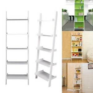 White 5 Tier Unit Ladder Wall Shelf Display Bookcase Stand Bedroom Home Storage