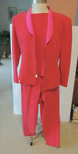 Dana Buchman 3 piece  pink silk suit, jacket, pants, and  BLOUSE two tone 8P