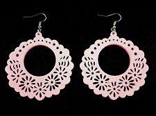 Round Lightweight Wood Laser Cut Dangle Fashion Earrings - Pink # B247