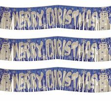 150cm Long Merry Christmas Banner Office Xmas Party Foil Curtain Tinsel Decor