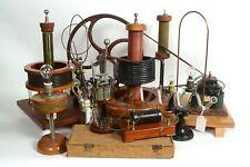 Early antique electric motor, generator, 8 Geissler tubes,Tesla instruments