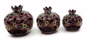 Traditional Turkish Pottery Pomegranate Shaped Candle/Incense Burner Set of 3