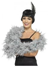 Silver Grey Feather Boa deluxe 1.80m 80g Gatsby burlesque costume accessory 20s