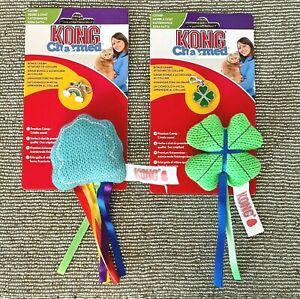 2 x KONG Charmed Catnip Cat Toys With Collar Pendant Charm - RAINBOW And CLOVER