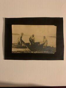 Antique Real Photo Postcard Fishing Orrs Island Maine.