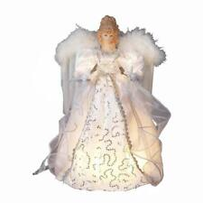 White and Silver Angel with Gold Feather Wings Light Up Christmas Tree Topper