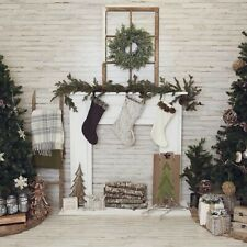 Farmhouse Christmas Fabric Photography Backdrop Rustic 8' X 8' fireplace trees