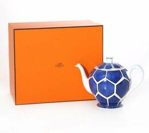 Hermes Teapot Bleus d'Ailleurs Blue Tableware Dinnerware Porcelain Ornament New