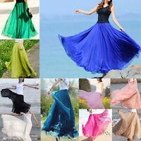 Women Girl Double Layer Chiffon Pleated Maxi Dress Elastic Waist Long Maxi Skirt