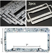 Auto Car Crystal License Plate Frame+Screw Cap Waterproof Glitter Rhinestones