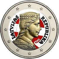 Lettland 2 Euro Münze Trachtenmädchen Milda in Farbe
