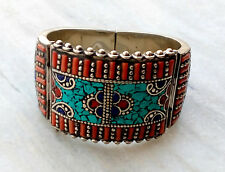 Silver Plated Natural Lapis Lazuli,Coral & Turquoise Vintage Tibetan Bangle