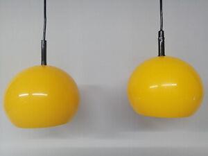 2 x 70 er Jahre Kugellampen Gelb Deckenlampe