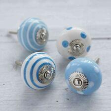 Maniglie blu in ceramica per porte