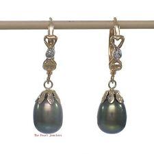 14k Yellow Gold & Diamonds Black-Green Cultured Pearls Dangle Hook Earrings TPJ
